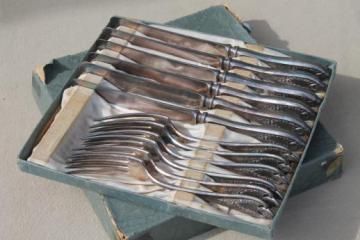 antique silverware, 1920s vintage silver plate flatware knives & forks, Old Colony 1847 Rogers