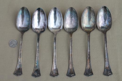 antique silverware, 1920s vintage silver plate flatware spoons set, Scotia 1881 Rogers