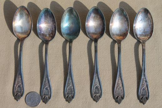 antique silverware, 1920s vintage silver plate flatware tea spoons set, Old Colony 1847 Rogers