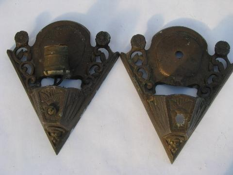 Antique Slip Shade Sconce Lamps Ornate Metal Wall Mount