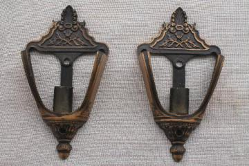 antique slip shade sconces pair of wall lights, early electric vintage lighting