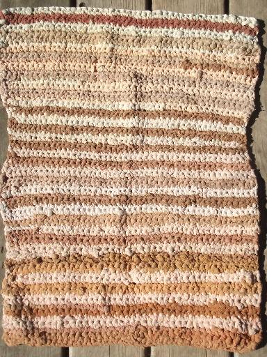 antique slipper rug, handmade crochet boudoir carpet striped in buff & ivory