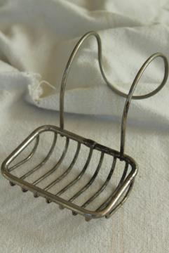 antique soap dish to hang on farmhouse sink or claw foot tub, Victorian vintage wire basket