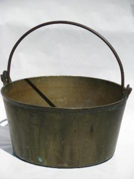 antique solid brass jelly kettle, large heavy cauldron pot from England