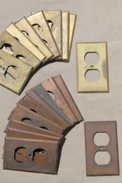 antique solid brass outlet covers, lot of 19 brass  cover plates, architectural hardware