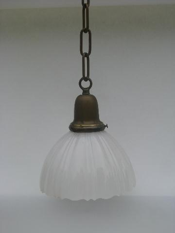Antique Solid Br Pendant Light Fixture Early 1900s Opalescent Milk Gl Shade