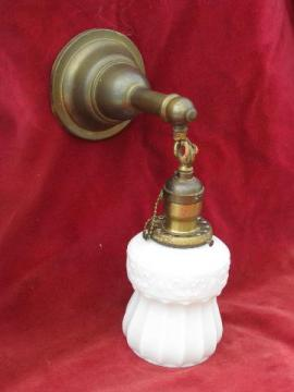 antique solid brass wall sconce lamp pendant light, early 1900s vintage lighting