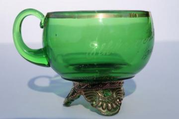 antique souvenir of the fair Elkhorn Wisconsin, EAPG vintage green glass cup w/ gold