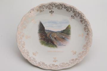antique souvenir plate, building the Panama Canal late 1800s early 1900s vintage