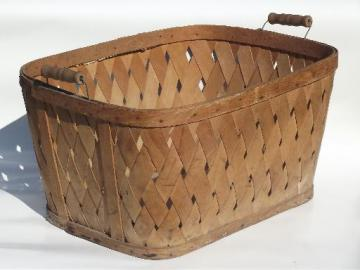 antique splint wash basket w/ wood handles, vintage primitive storage