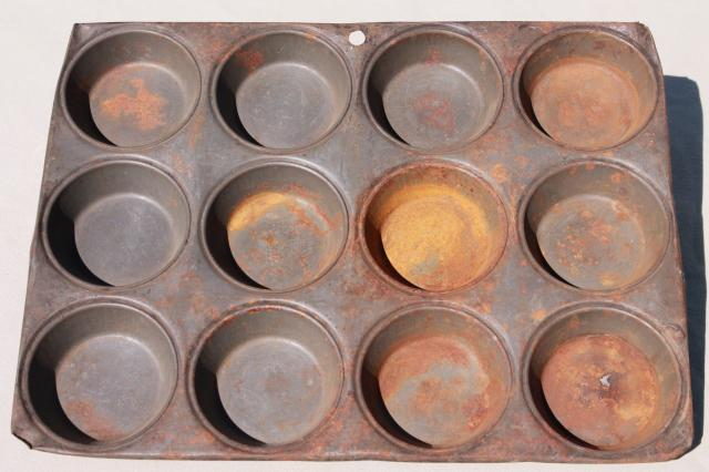 antique steel baking pan for mini hand pies or large muffins, vintage muffin pan
