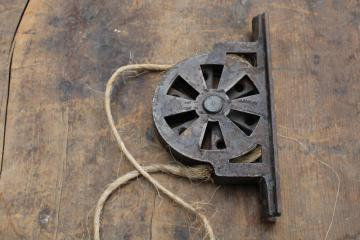 antique steel pulley, vintage industrial style window or door lift hardware