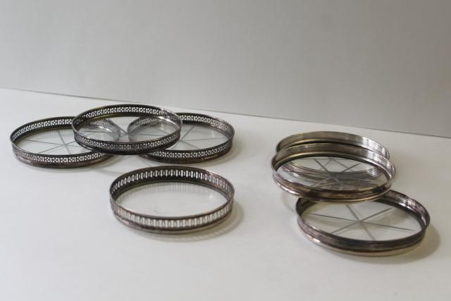 antique sterling silver and glass coasters, mismatched coaster set early 1900s vintage