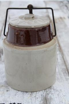 antique stoneware crock jar for pickles or fruit preserves, bail lid crock