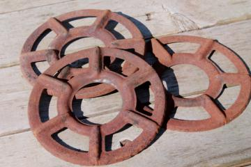antique stove burners, rusty crusty vintage junk yard primitive industrial wall art decor