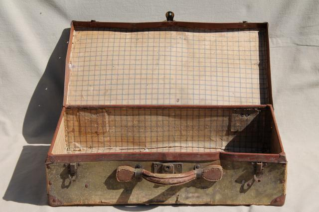 suitcase, early 1900s vintage paper cardboard travel box case