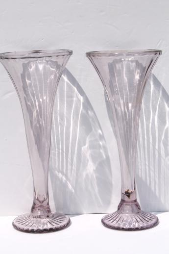 antique sun purple lavender glass shelf supports, large pair of vases / shelf risers