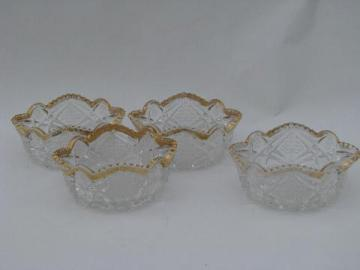 antique sunburst pattern berry bowls, vintage pressed glass
