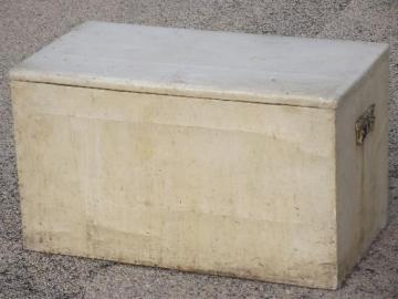 Antique Tea Chest Wood Storage Box Trunk, Vintage Floral And Old White Paint