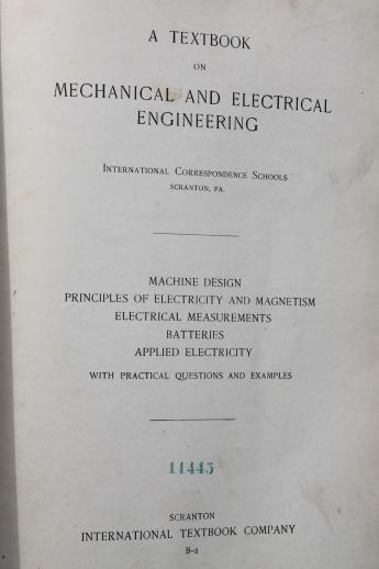 antique technical & engineering textbooks, early electricity steampunk vintage