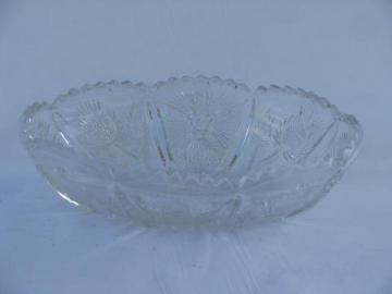 antique thistle flower pattern vintage pressed glass oval bowl, old EAPG