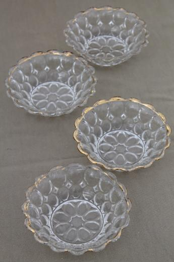 Glass dishes vintage thumbprint