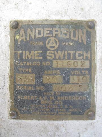 antique time switch, steampunk early machine industrial, Anderson - Boston