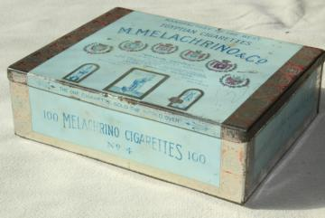 antique tin Melachrino Egyptian cigarettes, early 1900s vintage cigarette box tobacciana