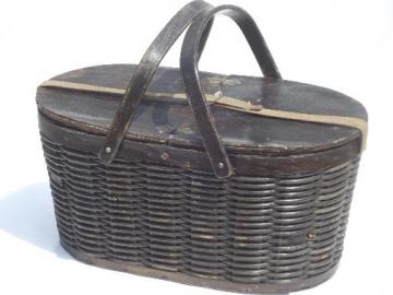 antique tin lined insulated picnic basket, 1930s vintage picnic hamper