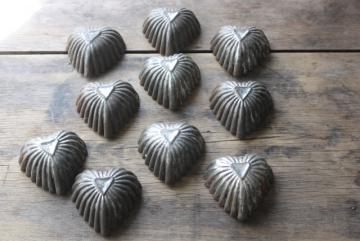 antique tin patty pan molds, rustic rusty metal heart shaped pans made in England