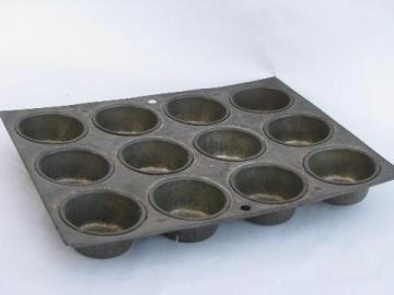 antique tinned baking mold, early 1900s vintage 12 cup cupcake pan, primitive kitchen