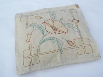 antique tinted embroidery cover feather pillow, color shaded flower
