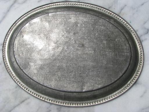Antique Tole Tin Tray W Old Dull Silver Patina Tinned