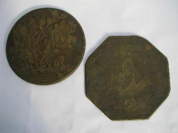 antique tooled brass trivets, oak and acorn, petit-point