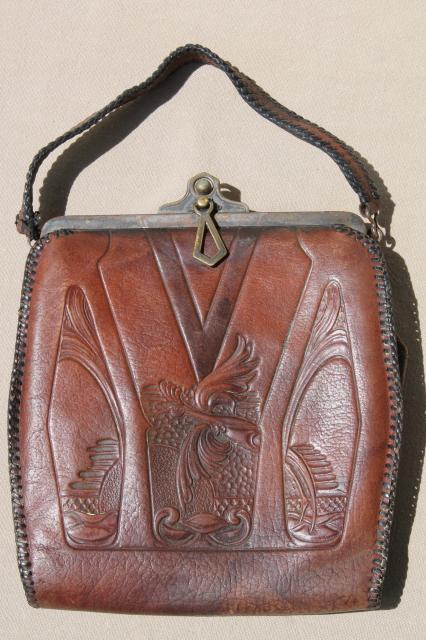 Antique Tooled Leather Purse Early 1900s Vintage Jemco Handbag W Aesthetic Design