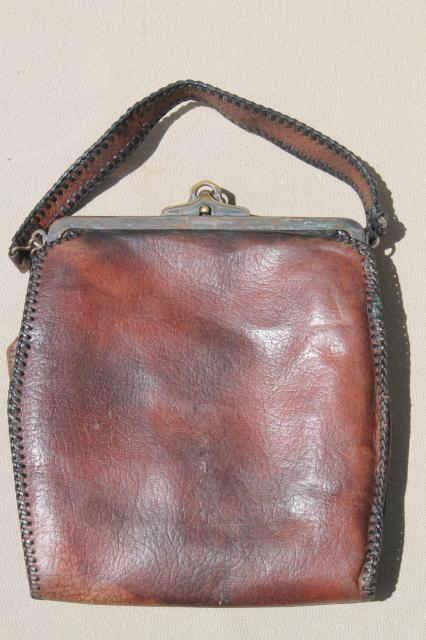 antique tooled leather purse, early 1900s vintage Jemco handbag w   aesthetic design 428957bb90