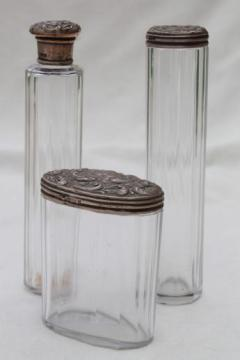 antique train case bottles or vanity table jars w/ sterling silver lids