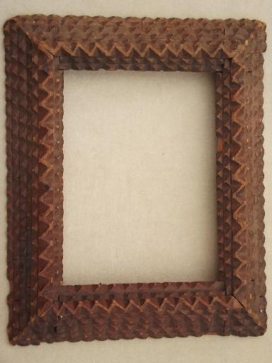 Antique Tramp Art Hand Carved Wood Frame For Mirror Or Picture Frame