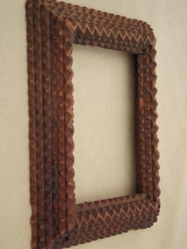 Antique Tramp Art Hand Carved Wood Frame For Mirror Or