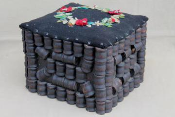 antique tramp art wood spool sewing stool, primitive hassock w/ wool felt flowers