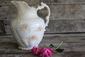 antique transferware china water pitcher, shabby cottage chic wildflowers floral