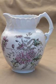 antique transferware wash pitcher water jug, multi-colored floral pattern