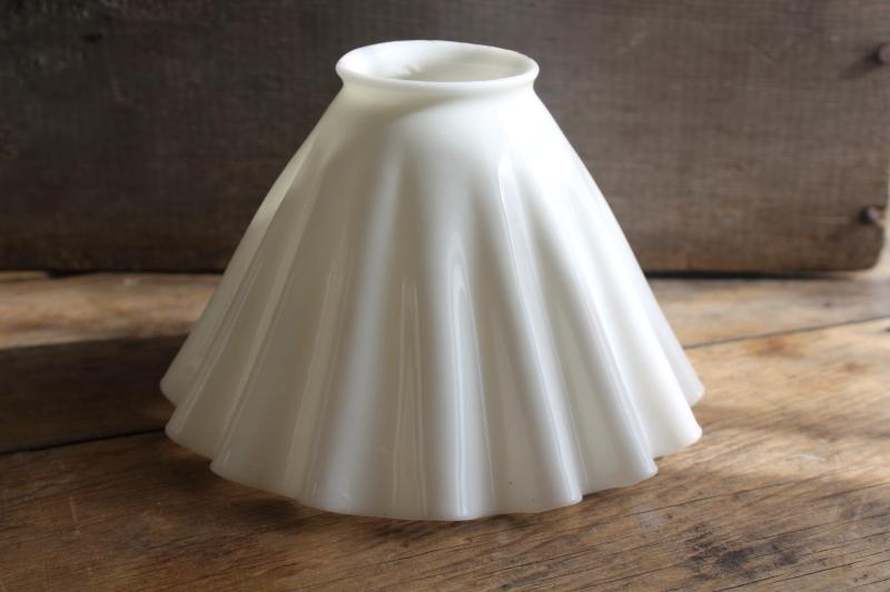 antique translucent white milk glass lampshade, pleated shape shade for pendant light
