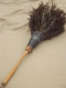 antique turkey feather duster w/ old wooden handle, early 1900s vintage