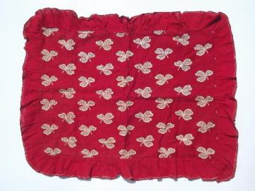 antique turkey red linen pillow cover, white clover on red fabric