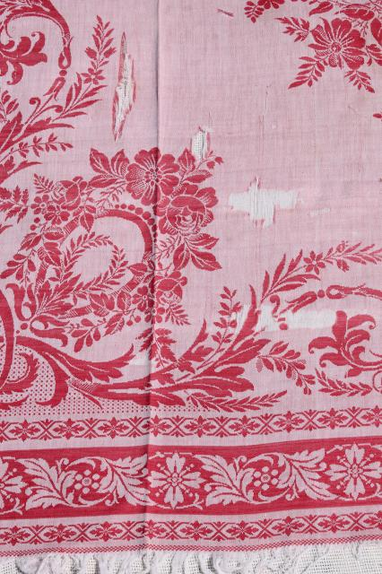 antique turkey red & white linen damask tablecloths, shabby vintage fabric for cutters