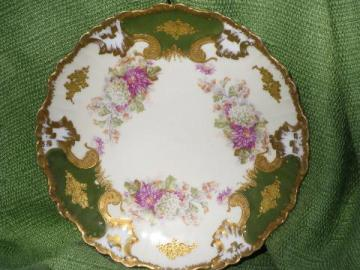 antique turn of the century floral china plate, K-D Limoges France