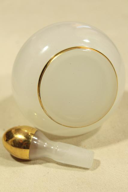 antique vanity or barbers bottle, gold & white opalescent milk glass or camphor glass