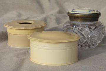 antique vanity table jars - celluloid powder box, brilliant glass enamel hair receiver