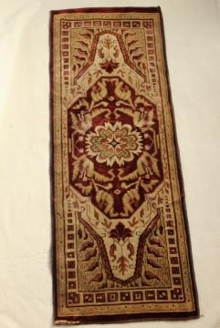 antique velvet table runner, oriental rug print Arts & Crafts vintage 1920